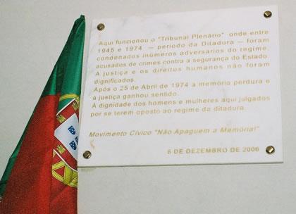 foto da cerimónia do Tribunal Plenário, placa comemorativa (web)