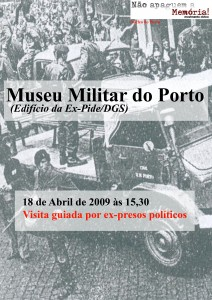cartaz da visita ao museu militar do Porto (18 de Abril de 2009)