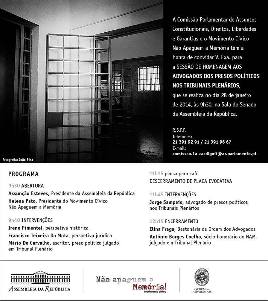 Homenagem aos advogados dos presos políticos nos Tribunais Plenários (1945-1974)