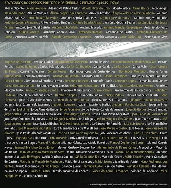 Nomes dos advogados | Homenagem aos advogados dos presos políticos nos Tribunais Plenários (1945-1974)